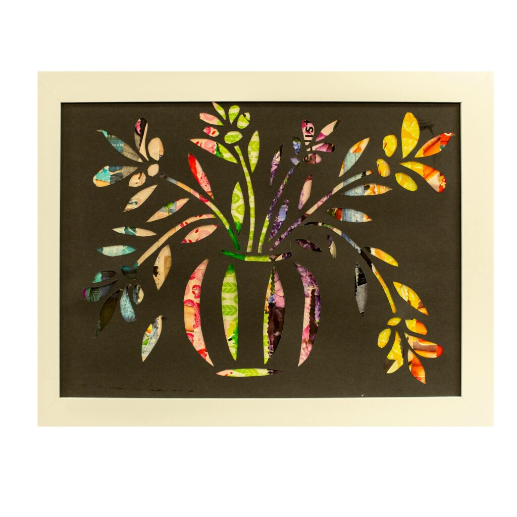 Hand crafted card with floral design.