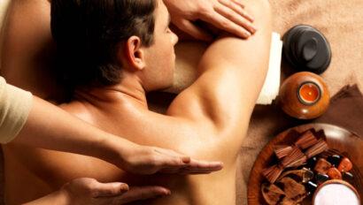 Man getting a back massage.