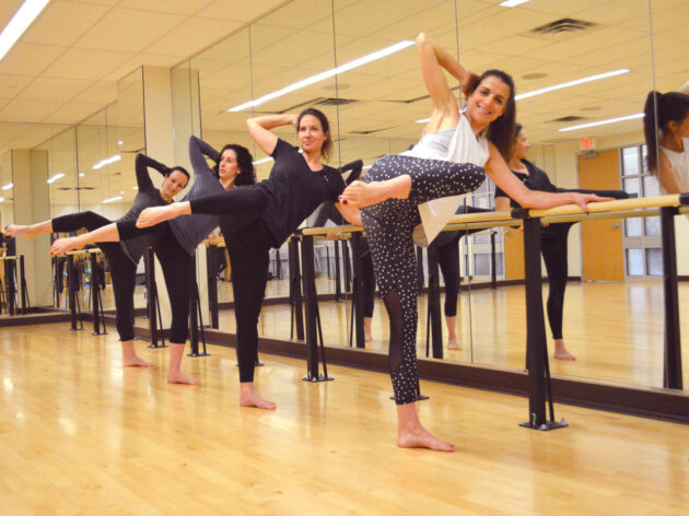 Leg exercises in barre class.