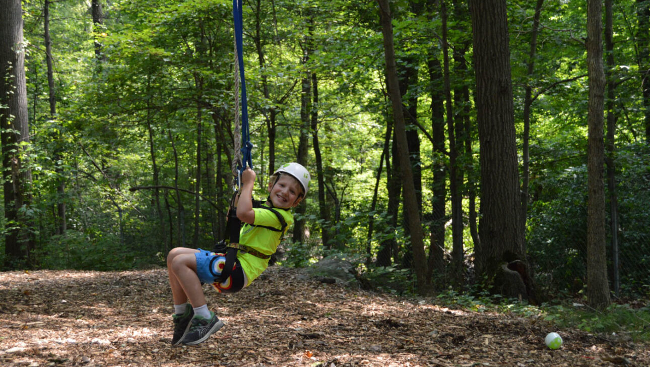 Boy swinging on a rope in the woods.