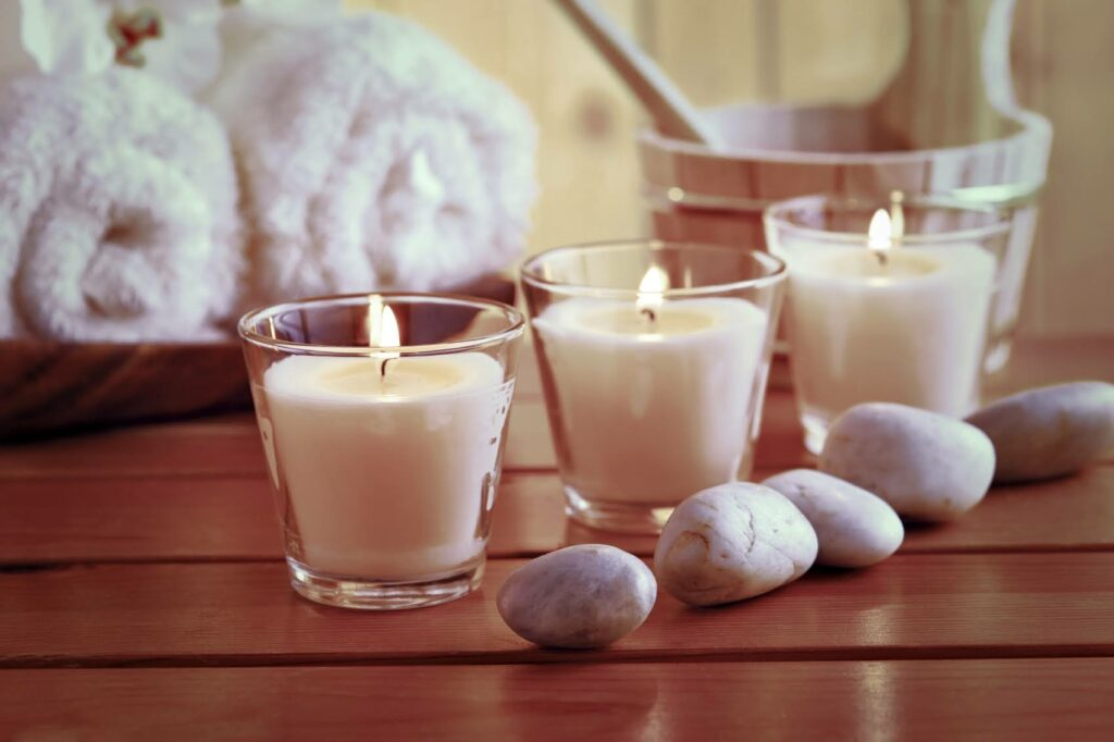 candles on a table.