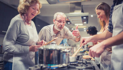 Seniors cooking.