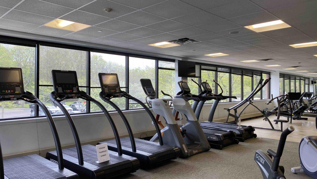 Fitness center treadmills.
