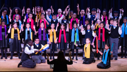 Choir of children singing on Founders day.