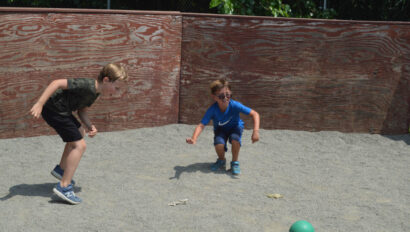 Boys playing gaga.