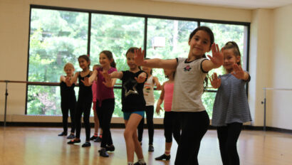 Girls practicing for a dance performance.