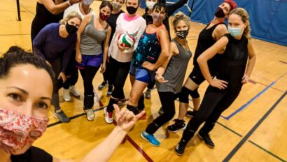Group classes with members wearing masks.
