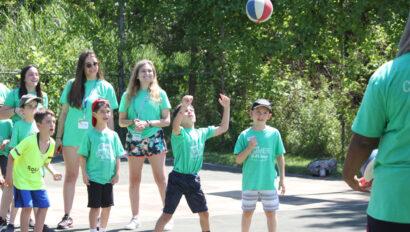 Kids playing basketball.