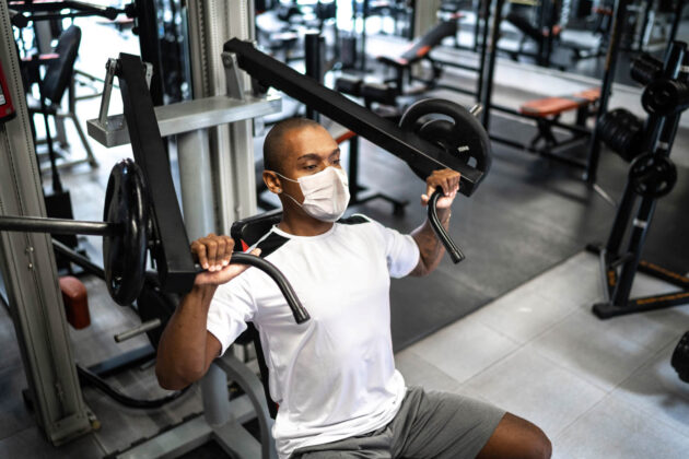 Man working out at the gym.