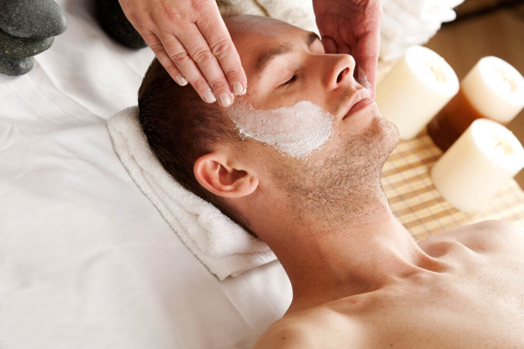 Man getting a facial.