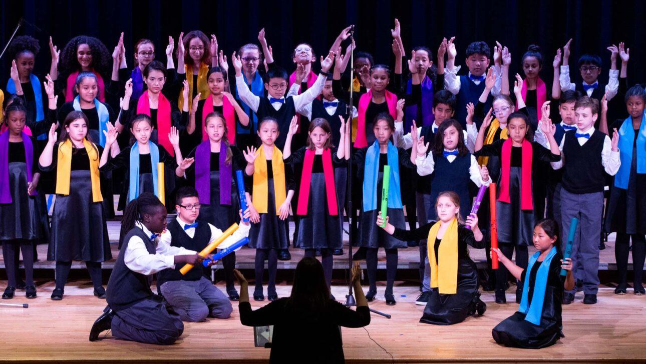Chorus performing onstage.