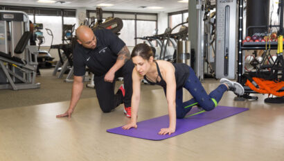 Woman in a personal training session.