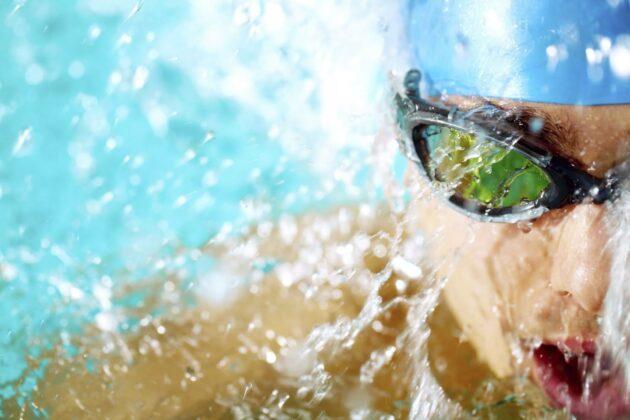 Underwater image closeup of someone swimming