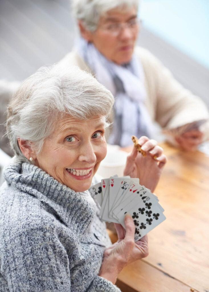 Seniors playing cards.