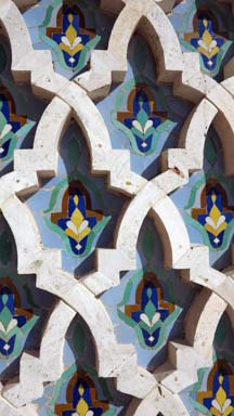 detail of Casablanca Hassan II Mosque Minaret, Morocco. It's a famous landmark and an important religious site.