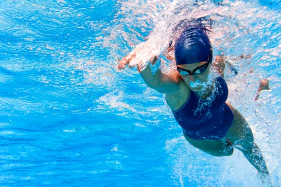 Underwater image of swimmer in action.