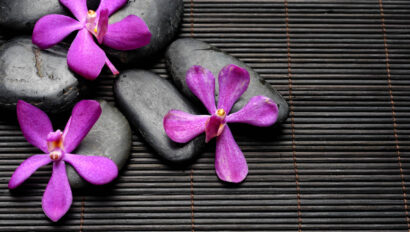 Stones with flowers on top.